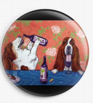 Basset Hounds At A Wine Bar By Jay Schmetz Licensed Art Needle Minder