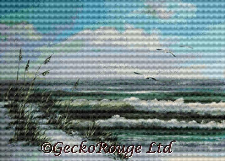 Beach Dunes With Birds By Rosie Brown Cross Stitch Kit