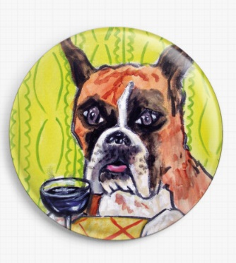 Boxer Dog Drinking Wine By Jay Schmetz Licensed Art Needle Minder