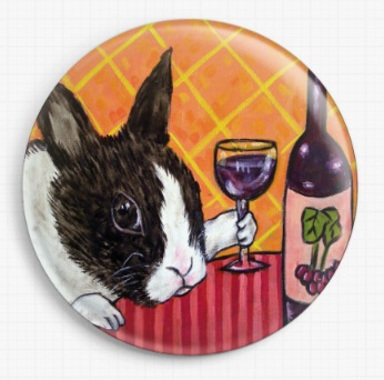 Bunny Rabbit In A Wine Bar By Jay Schmetz Licensed Art Needle Minder
