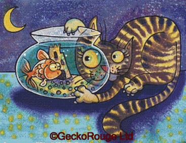 Cat and Fish Bowl By Dorian Spencer Davies Art Cross Stitch Kit
