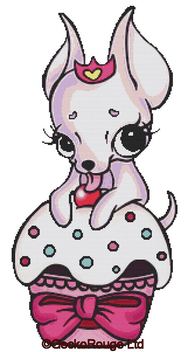 Cupcake Chihuahua By Miss Cherry Martini Cross Stitch Kit - (No Background stitching)
