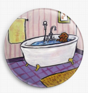 Dachshund In The Bath By Jay Schmetz Licensed Art Needle Minder
