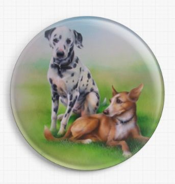Dalmation and Ibezan Hound By David Finney Licensed Art Needle Minder