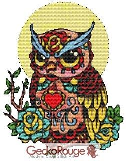 Day of the Dead Owl By Illustrated Ink Cross Stitch Kit (IIOWLMN)