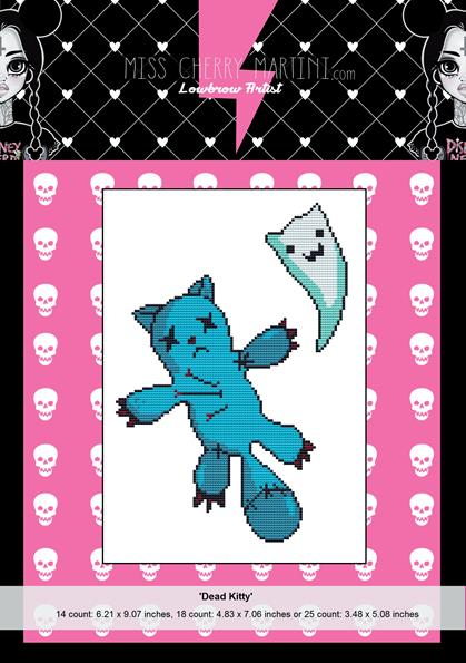 Dead Kitty By Miss Cherry Martini Cross Stitch Kit