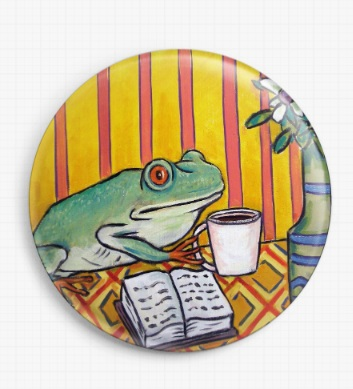 Frog Drinking Coffee Birthday By Jay Schmetz Licensed Art Needle Minder