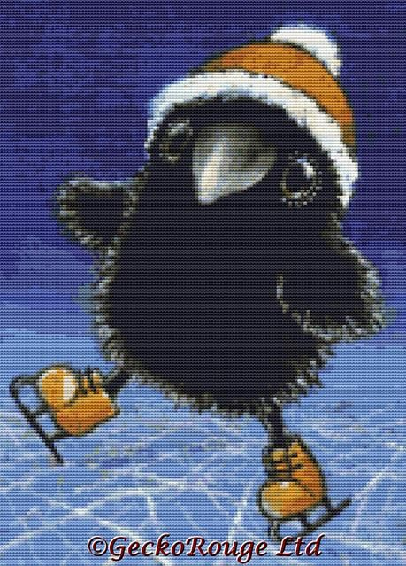 Little raven showing tricks on ice Tanya Bond Cross Stitch Kit (TBSKATE)