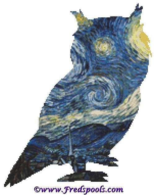 Owl 1 Van Gogh Starry Night Style Cross Stitch Kit By FredSpools (FSPOWLVANSTA)