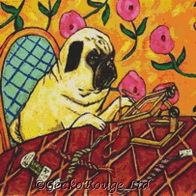 Pug Dog Needlepoint Stitching By Jay Schmetz Cross Stitch Kit