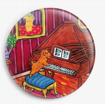 Terrier Playing Piano By Jay Schmetz Licensed Art Needle Minder (2)