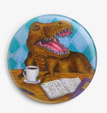 Tyrannosaurus Rex Drinking Coffee By Jay Schmetz Licensed Art Needle Minder (5)