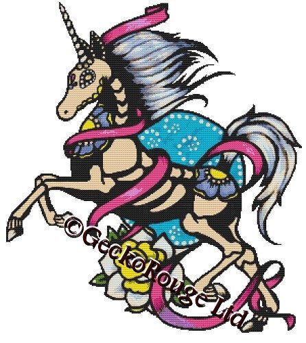 Unicorn By Illustrated Ink Cross Stitch Kit - Background Removed