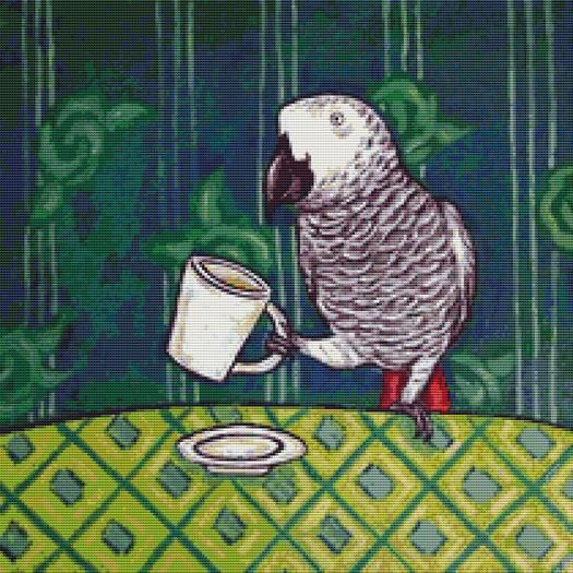 African Grey Parrot - Coffee Cup Art By Jay Schmetz Cross Stitch Kit