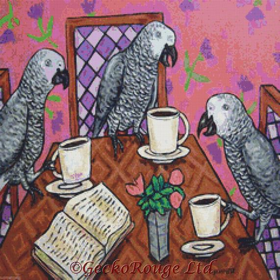 African Grey Parrots In A Coffee Shop By Jay Schmetz Cross Stitch Kit