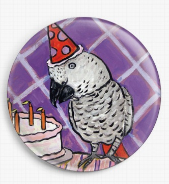 African Grey's Birthday By Jay Schmetz Licensed Art Needle Minder