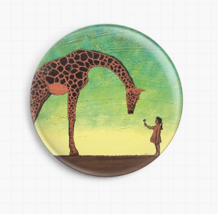 All Gods Children By Robert Bretz - Girl With Giraffe - Green Licensed Art Needle Minder