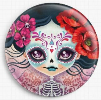 Amelia Sugar Skull By Sandra Vargas Licensed Art Needle Minder