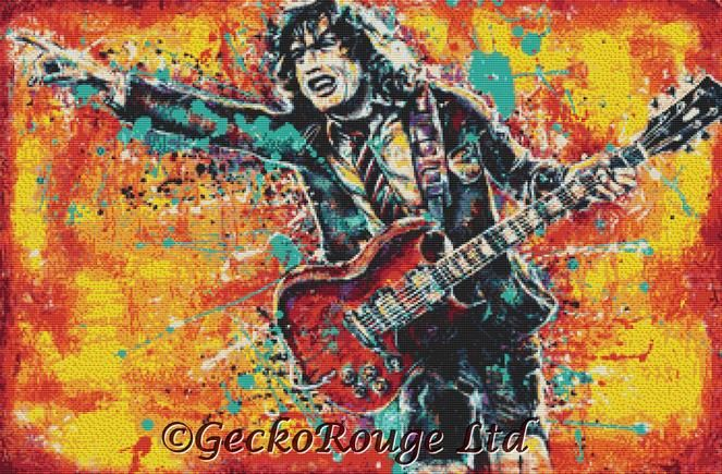 Angus Young By Sara Bowersock Cross Stitch Kit