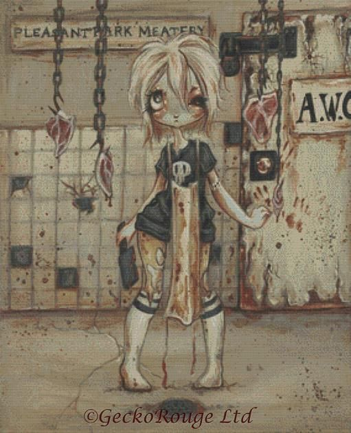 Asylum Park- Meatery By Terra Bidlespacher Cross Stitch Kit