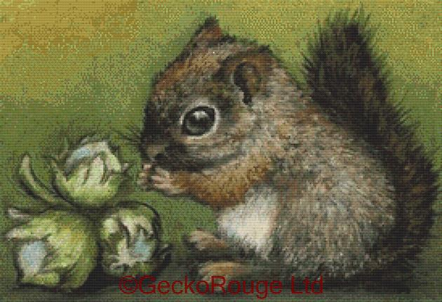 Baby Squirrel and Hazelnuts By Tanya Bond Cross Stitch Kit