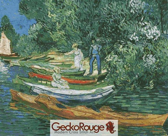 Bank of the Oise at Auvers - Van Gogh Cross Stitch Kit By FredSpools (VGBKOA)