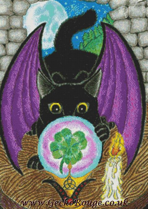 Black Cat By Angel Kitten Art Cross Stitch Kit (AKBLKCT)