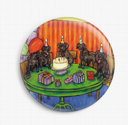 Black Labradors Birthday Party By Jay Schmetz Licensed Art Needle Minder