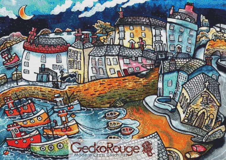 Bobbing boat harbour, Tenby Cross Stitch Kit By Dorian Davies (DDBBHT)