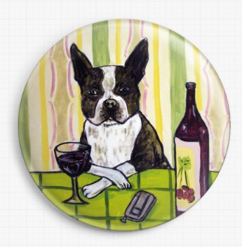 Boston Terrier At A Wine Bar By Jay Schmetz Licensed Art Needle Minder
