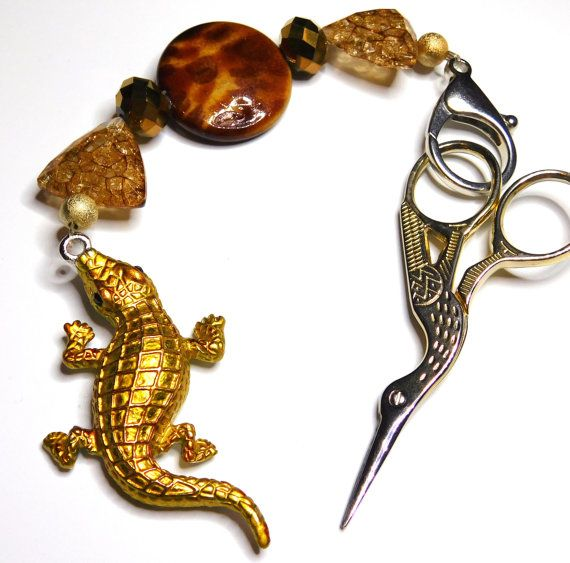 Brown  Crocodile Bag Charm Scissor Fob
