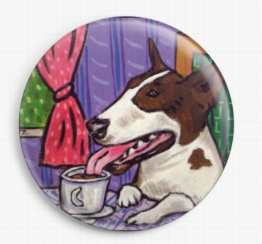 Bull Terrier Drinking Coffee By Jay Schmetz Licensed Art Needle Minder