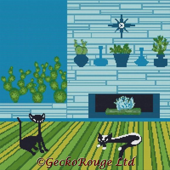 Cactus Cats Cross Stitch Kit By Kerry Beary (KBCACT)