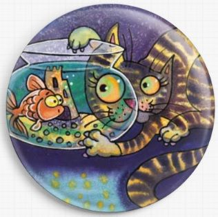 Cat and Fish By Dorian Davies Spencer Art Needle Minder