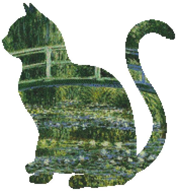 Cat Monet Waterlilies Cross Stitch Kit By FredSpools (1)