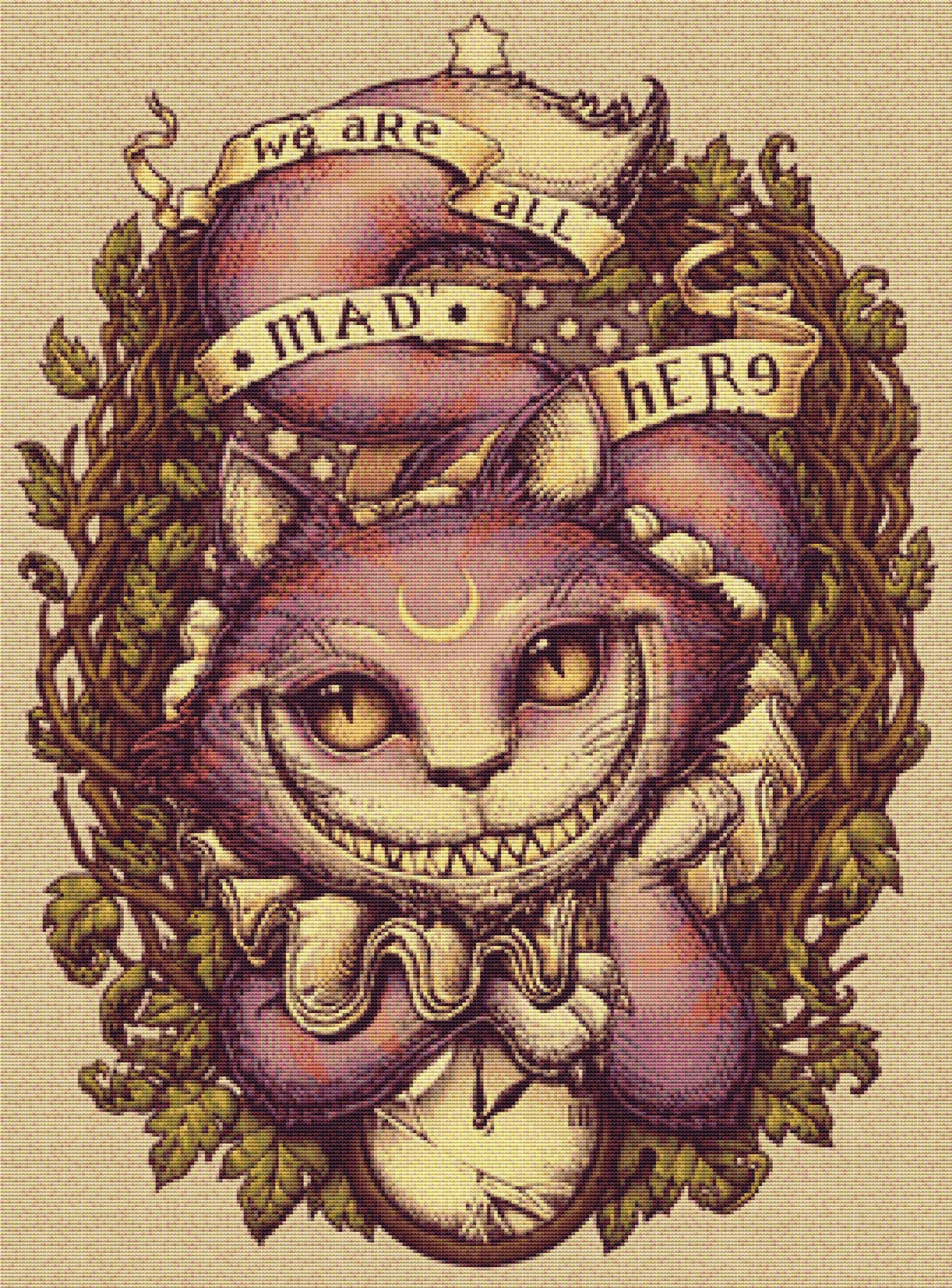 116 Cat Counted Cross Stitch Kit with threads or CHART