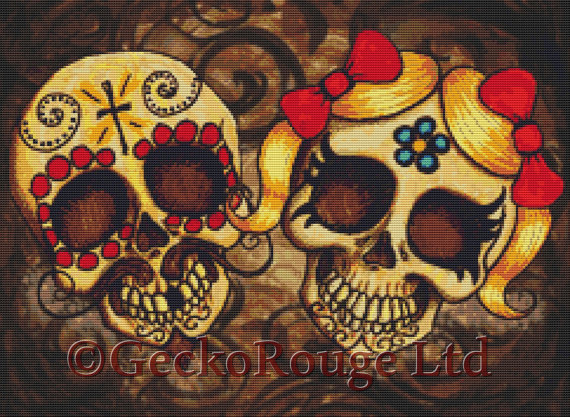 Day Of The Dead Couple By Shayne Of The Dead Cross Stitch Kit