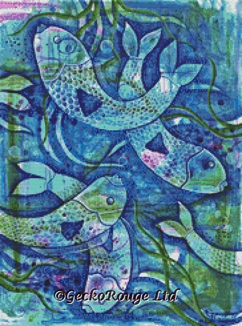 Fish Blue By Pamela Varacek Cross Stitch Kit