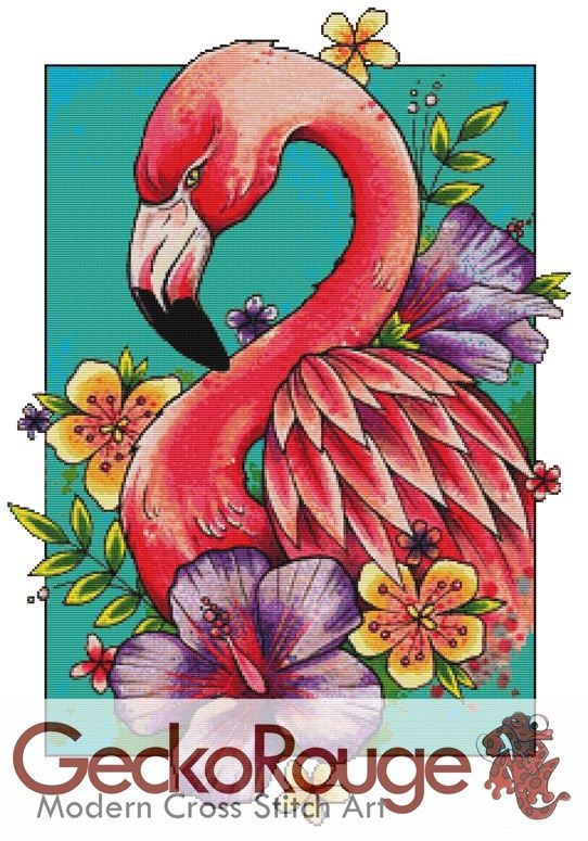 Flamingo By Lorna Laine Art Counted Cross Stitch Kit