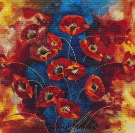 Floating Red Poppies by Rozanne Bell Cross Stitch Kit