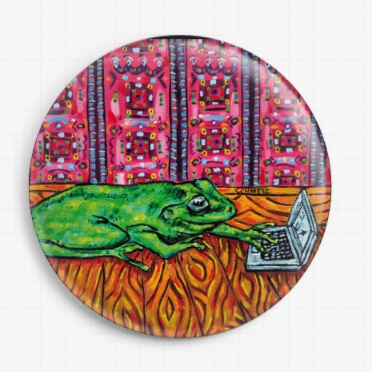 Frog and Laptop By Jay Schmetz Licensed Art Needle Minder