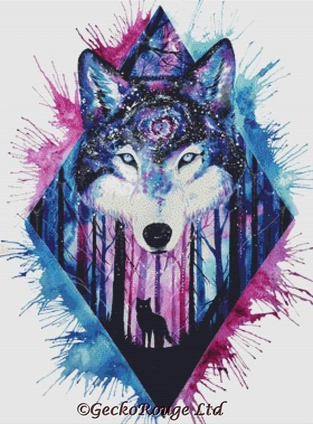 Galaxy Wolf Cross Stitch Kit By Scandy Girl (SGGLXYWLF )