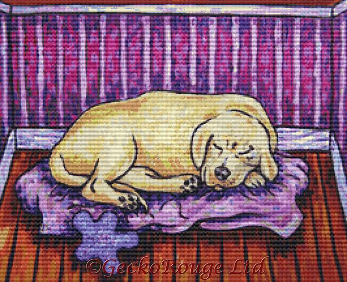 Golden Retriever Dog Sleeping By Jay Schmetz Cross Stitch Kit