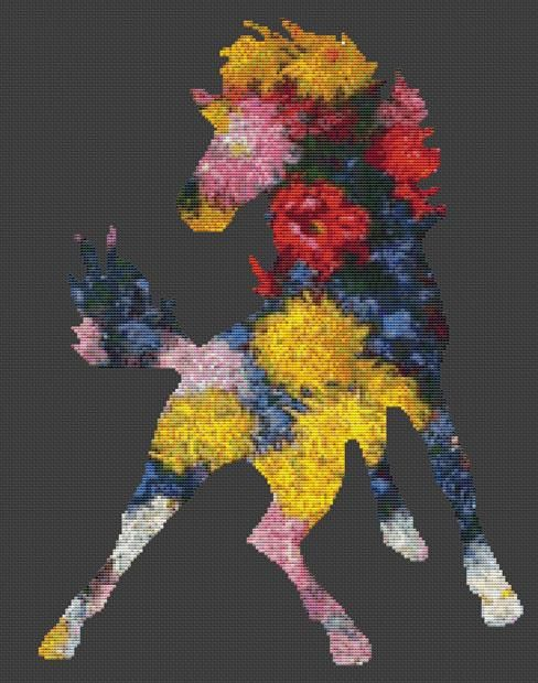 Horse Style 1 chrysanthemums by Monet Cross Stitch Kit By FredSpools (FSPHRMNCRY)