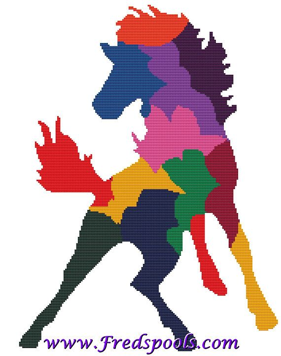 Horse Style 1 Colourful Cross Stitch Kit By FredSpools (FSPHRACC) (4)