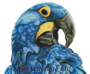 Hyacinth Macaw By Dany Lizeth Cross Stitch Kit - No background stitching