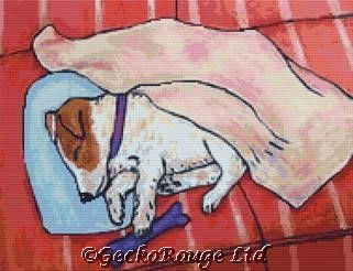 Jack Russell Sleeping By Jay Schmetz Cross Stitch Kit (JSZJKRUSSLP)