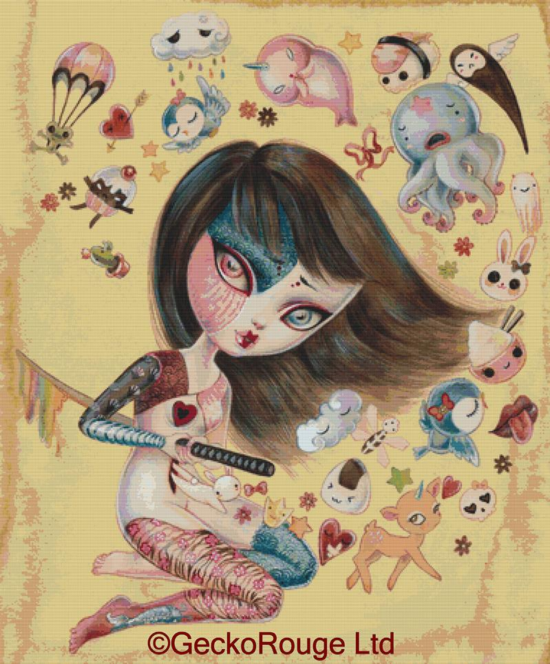 Kawaii-kiri By Simona Candini Cross Stitch Kit