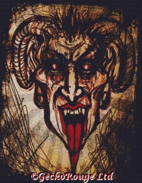 Krampus By Shayne Of The Dead Cross Stitch Kit