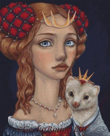 Lady With A Ferret By Tanya Bond Cross Stitch Kit